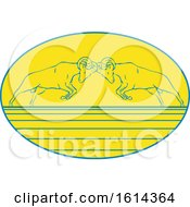 Clipart Of Sketched Bighorn Sheep Butting Heads In An Oval Royalty Free Vector Illustration