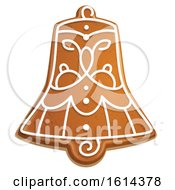 Poster, Art Print Of Christmas Bell Gingerbread Cookie With Icing