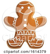 October 21st, 2018: Clipart Of A Christmas Gingerbread Man Cookie With Icing Royalty Free Vector Illustration by Vector Tradition SM