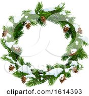 Clipart Of A Pinecone And Branch Christmas Wreath With Snow Royalty Free Vector Illustration