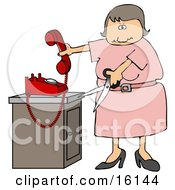 Angry Woman In Pink Cutting The Cord To Her Landline Phone