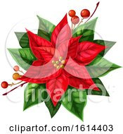 Clipart Of A Red Poinsettia Royalty Free Vector Illustration