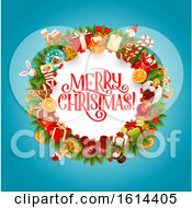 October 21st, 2018: Clipart Of A Merry Christmas Greeting In A Wreath Royalty Free Vector Illustration by Vector Tradition SM