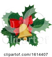 Poster, Art Print Of Christmas Holly And Bell Design