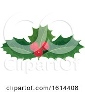 Clipart Of A Christmas Holly Design Royalty Free Vector Illustration