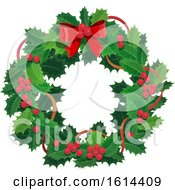 Clipart Of A Christmas Holly Wreath Royalty Free Vector Illustration by Vector Tradition SM