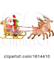 Clipart Of Santa In His Sleigh Royalty Free Vector Illustration