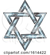 Clipart Of A Sketched Star Of David Royalty Free Vector Illustration by Vector Tradition SM