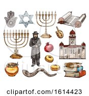 Clipart Of Sketched Jewish Items Royalty Free Vector Illustration