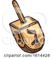 Clipart Of A Sketched Dreidel Royalty Free Vector Illustration by Vector Tradition SM