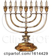 Clipart Of A Sketched Menorah Royalty Free Vector Illustration