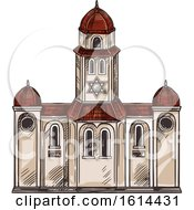 Clipart Of A Sketched Jewish Synagogue Royalty Free Vector Illustration