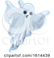 Clipart Of A Halloween Sheet Ghost Royalty Free Vector Illustration