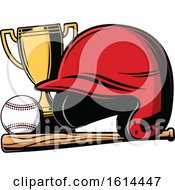 Poster, Art Print Of Baseball With A Helmet Bat And Trophy