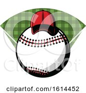 Clipart Of A Hat On A Baseball Royalty Free Vector Illustration