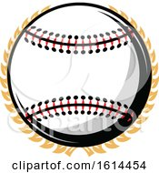 Clipart Of A Baseball And Wreath Royalty Free Vector Illustration