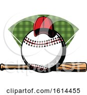 Clipart Of A Hat On A Baseball Over A Bat Royalty Free Vector Illustration