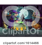 Clipart Of A Halloween Background Royalty Free Vector Illustration by Vector Tradition SM