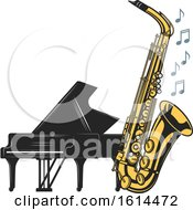 Clipart Of A Piano And Saxophone Royalty Free Vector Illustration