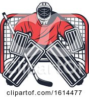 Clipart Of A Hockey Goalie Royalty Free Vector Illustration