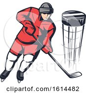 Clipart Of A Hockey Player Royalty Free Vector Illustration by Vector Tradition SM