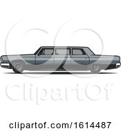 Clipart Of A Classic Limo Car Royalty Free Vector Illustration