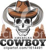 Wild West Cowboy Skull Wearing A Hat