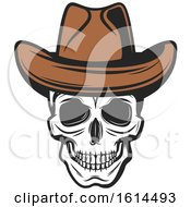 Clipart Of A Wild West Cowboy Skull Wearing A Hat Royalty Free Vector Illustration