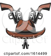 Clipart Of A Cowboy Hat And Crossed Pistols Royalty Free Vector Illustration by Vector Tradition SM
