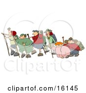 Three Couples With One Skinny Partner And One Chubby Partner Per Couple All Taking A Hike Together While Two Of Them Struggle Clipart Illustration