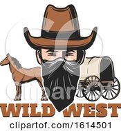 Clipart Of A Western Outlaw Royalty Free Vector Illustration