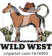 Clipart Of A Brown Horse With Wild West Text Royalty Free Vector Illustration