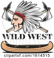 Clipart Of A Wild West Canoe And Native American Design Royalty Free Vector Illustration