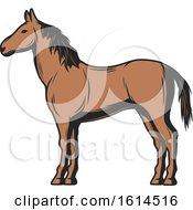 Clipart Of A Brown Horse Royalty Free Vector Illustration