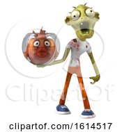3d Green Zombie Holding A Fish Bowl On A White Background