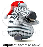 Clipart Of A 3d Christmas Zebra On A White Background Royalty Free Illustration by Julos