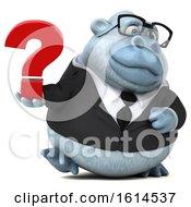 3d White Business Monkey Yeti On A White Background