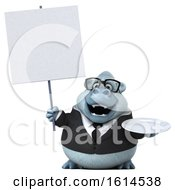 Clipart Of A 3d White Business Monkey Yeti On A White Background Royalty Free Illustration