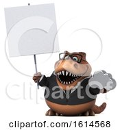 Poster, Art Print Of 3d Brown Business T Rex Dinosaur On A White Background