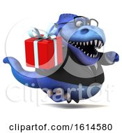 Clipart Of A 3d Blue Business T Rex Dinosaur On A White Background Royalty Free Illustration