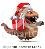Poster, Art Print Of 3d Brown Christmas T Rex Dinosaur On A White Background