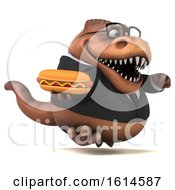 Clipart Of A 3d Brown Business T Rex Dinosaur On A White Background Royalty Free Illustration