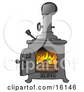 Logs Burning In A Wood Stove To Keep A House Warm