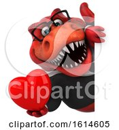 Poster, Art Print Of 3d Red Business T Rex Dinosaur On A White Background