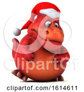 Clipart Of A 3d Red Christmas T Rex Dinosaur On A White Background Royalty Free Illustration
