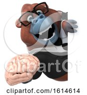 Clipart Of A 3d Business Orangutan Monkey On A White Background Royalty Free Illustration by Julos