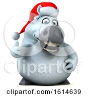 Clipart Of A 3d Chubby White Christmas Horse On A White Background Royalty Free Illustration