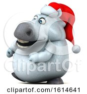 Clipart Of A 3d Chubby White Christmas Horse On A White Background Royalty Free Illustration by Julos
