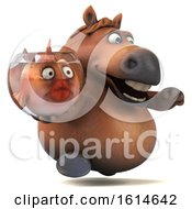 Clipart Of A 3d Chubby Brown Horse On A White Background Royalty Free Illustration