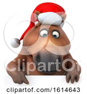 Clipart Of A 3d Chubby Brown Christmas Horse On A White Background Royalty Free Illustration